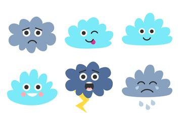 9款可爱表情云朵矢量素材