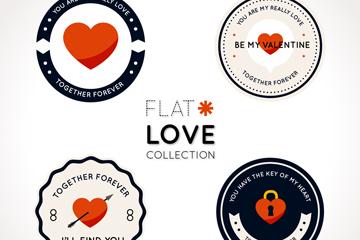 4款精致圆形爱心标签矢量素材
