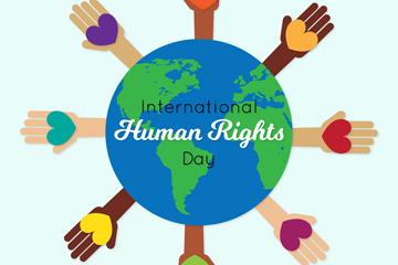 扁平化国际人权日地球和8个手臂矢量图