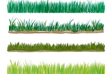 4款水彩�L草坪矢量素材