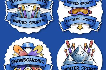 4款彩绘滑雪学校标签矢量素材