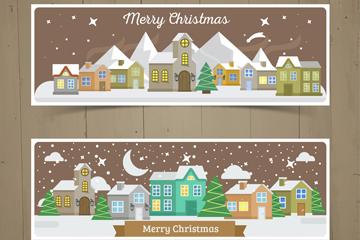2款冬季雪夜圣诞小城banner矢量图