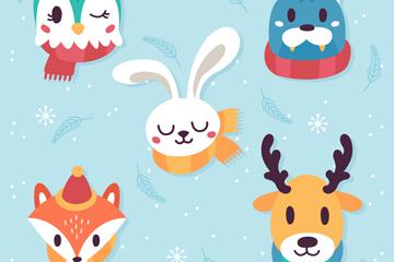 5款创意仰头的冬季动物头像矢量图