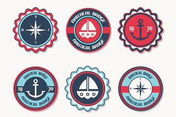 6款圆形航海徽章矢量素材