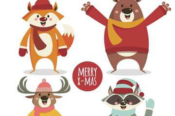 4款创意冬季圣诞森林动物矢量图