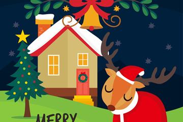 卡通圣诞木屋和驯鹿矢量图