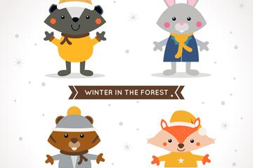 4款狐狸和兔子等可爱森林动物矢量图