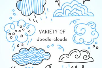 6款彩绘云朵涂鸦矢量素材