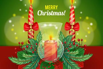 精美圣诞节蜡烛贺卡和装饰矢量素