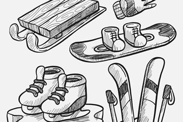 5款手绘滑雪装备矢量素材