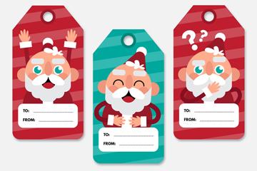 3款可爱圣诞老人留言吊牌矢量图