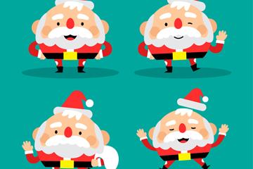 4款可爱圆脸圣诞老人设计矢量图