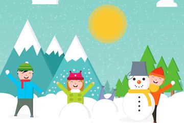 雪地玩耍的3个孩子矢量图