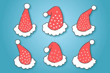6款可爱带图案圣诞帽矢量图