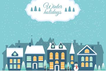 冬季雪夜圣诞小城矢量图