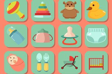 12款方形婴儿用品贴纸图标矢量图