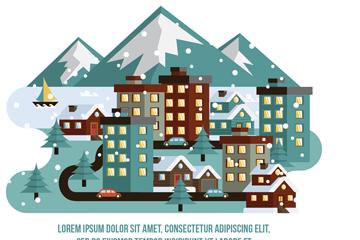冬季小城建筑和道路矢量图
