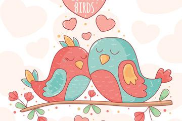 依偎在一起的彩色情侣鸟设计矢量