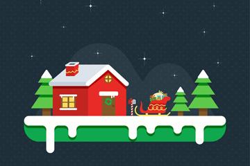 创意圣诞木屋和雪橇矢量素材
