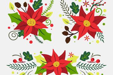 3款红色圣诞节一品红花束乐虎国际线上娱乐图