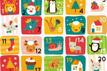可爱小动物圣诞月月历矢量素材