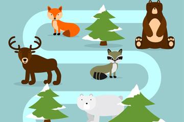 创意弯曲道路和5个森林动物矢量