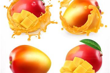 4款美味芒果和芒果汁设计矢量图