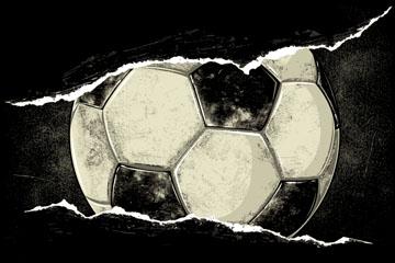手绘撕裂纸张里的斑驳足球矢量图