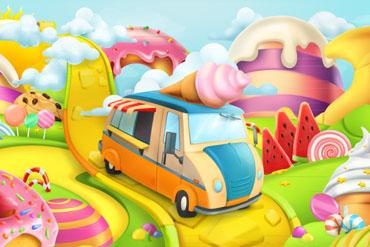 卡通糖果世界和甜品车矢量图