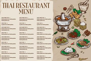 彩绘泰国餐馆菜单矢量素材