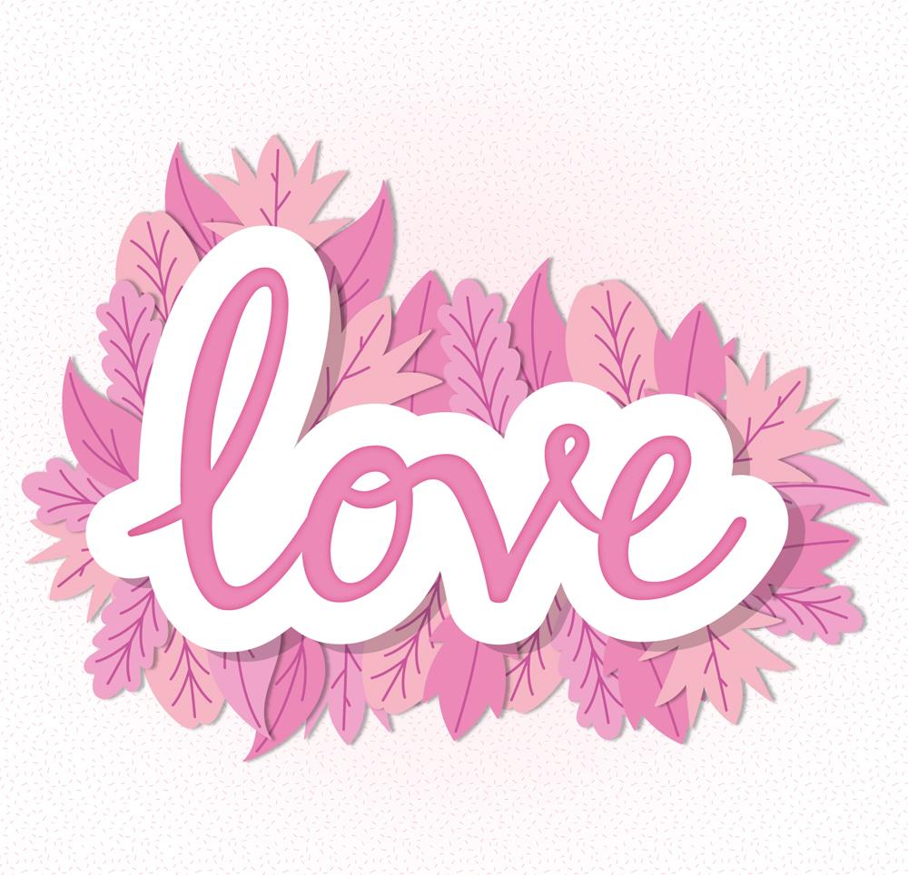 粉色时间装饰爱的艺术字贴纸矢量图模具设计时的v粉色树叶及等级图片