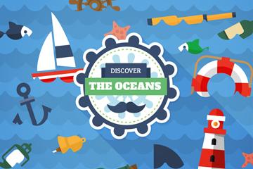 21款扁平化海洋探险元素矢量图