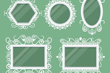 5款白色花纹婚礼镜框矢量图