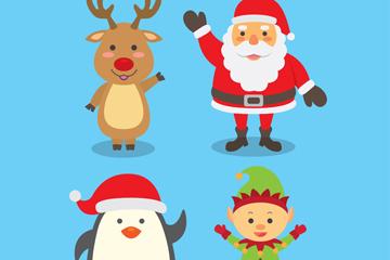 4款可爱招手圣诞角色矢量图
