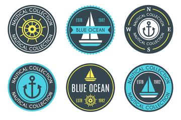 9款蓝色航海徽章矢量素材