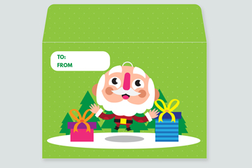 可爱圣诞老人信封矢量素材