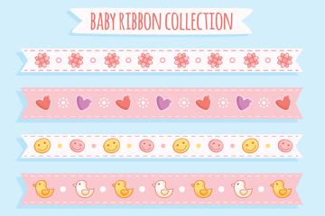 6款彩绘婴儿丝带矢量素材