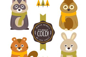 4款呆萌冬季森林动物矢量素材