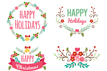 4款彩色圣诞节花环和花束乐虎国际线上娱乐图