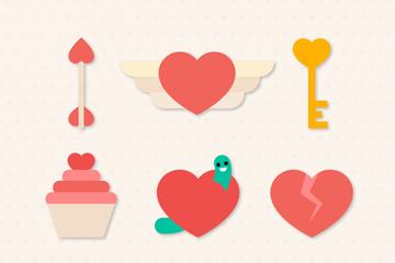 9款创意爱心元素贴纸矢量图