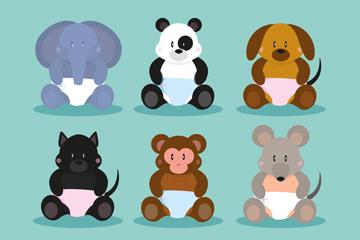 6款坐姿动物宝宝矢量素材