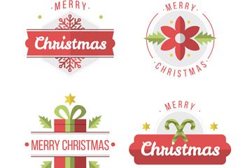 4款扁平化红色圣诞节标签矢量图