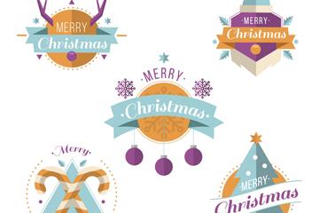 5款创意圣诞节标签矢量素材
