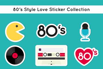 9款彩色80年代爱的贴纸矢量图