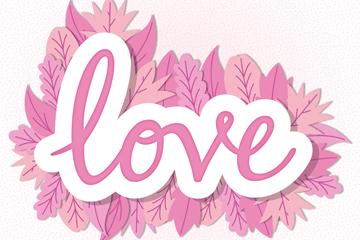 粉色树叶装饰爱的艺术字贴纸矢量图