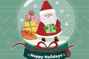 可爱圣诞老人雪花玻璃球矢量素材