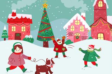 卡通圣诞小城和人物插画矢量素材