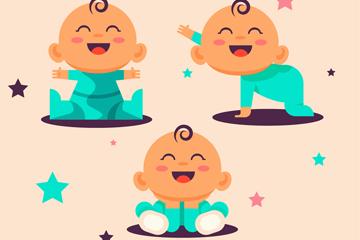 3款可爱笑脸婴儿矢量素材