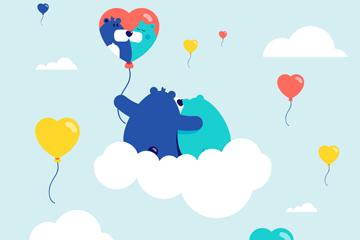 卡通云上的情侣熊矢量素材