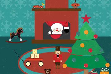 可爱钻壁炉的圣诞老人插画矢量图